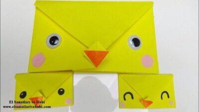 Origami Zarf Yapımı-Sarı Civciv Origami Zarfı Nasıl Yapılır?