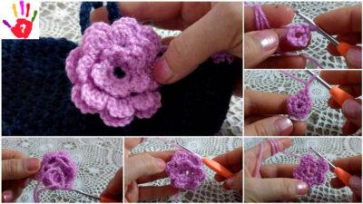 Tığ İşi Örgü Çiçek Yapılışı | Örgü Patik Süsleme