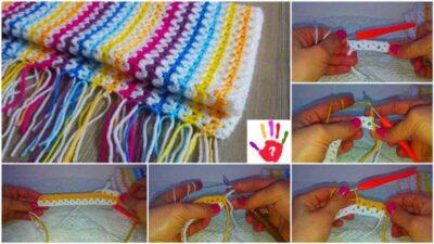Renkli Bebek Battaniyesi Yapımı – V Örgü Modeli Battaniye Ve Şal Yapılışı